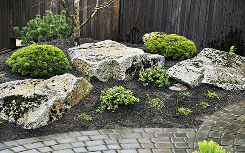 acreage landscaping with boulders