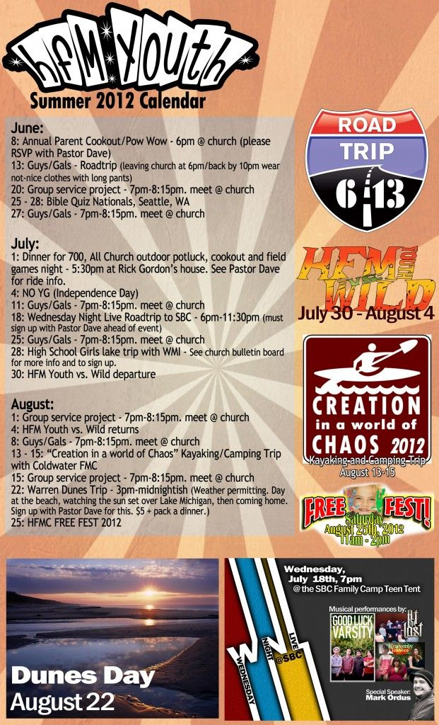 youth group calendar (good ideas!) | Youth group | Youth