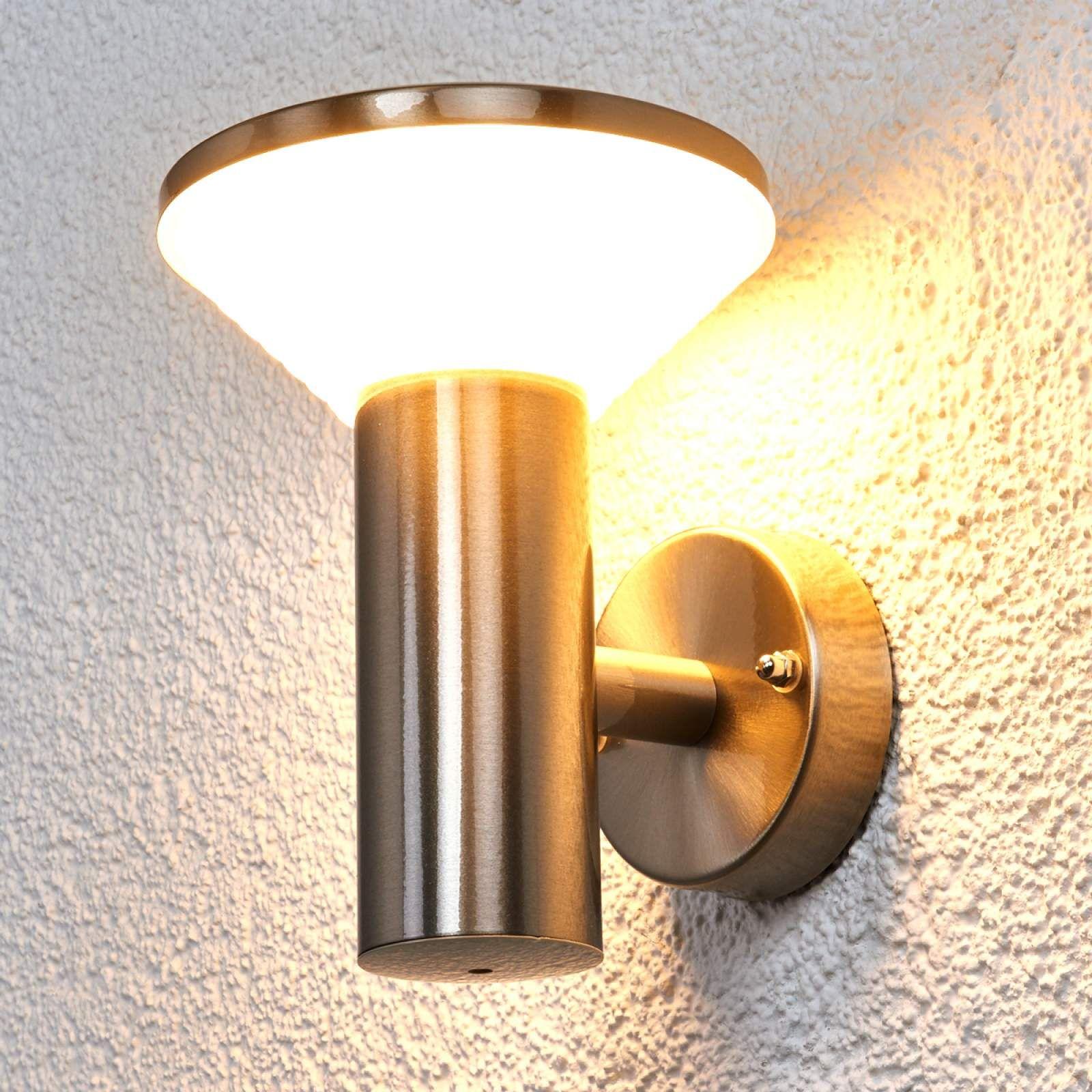 LED Außenwandleuchte Lillie Sensor Lampenwelt Außen Edelstahl Bewegungsmelder