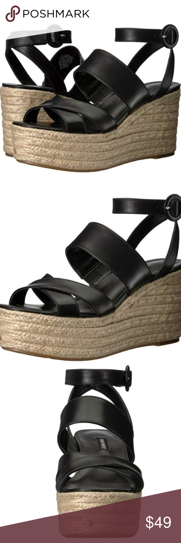 9710cb7cf01 Nine West Kushala Leather Wedge Sandals Size 6.5M Leather New in box Size  6.5M Synthetic sole Platform measures approximately 2 inches Wedge Sandal  Women s ...