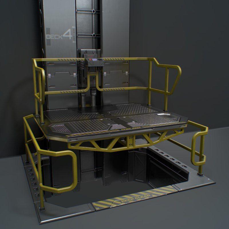 sci-fi modular elevator 3D model | Sci-fi device in 2019 | Sci fi
