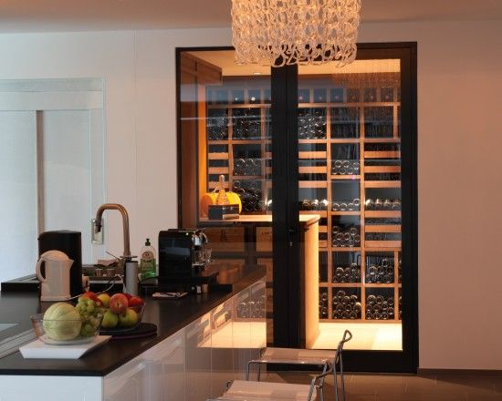 Talk about Easy Access! For a more modern kitchen/cellar, I'm loving this idea.