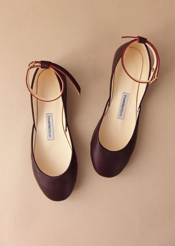 cffb1447f31 Bordeaux Leather Ballet Flats with Ankle Straps