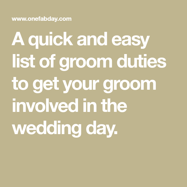 Groom Duties: The Ultimate Groom To-Do List