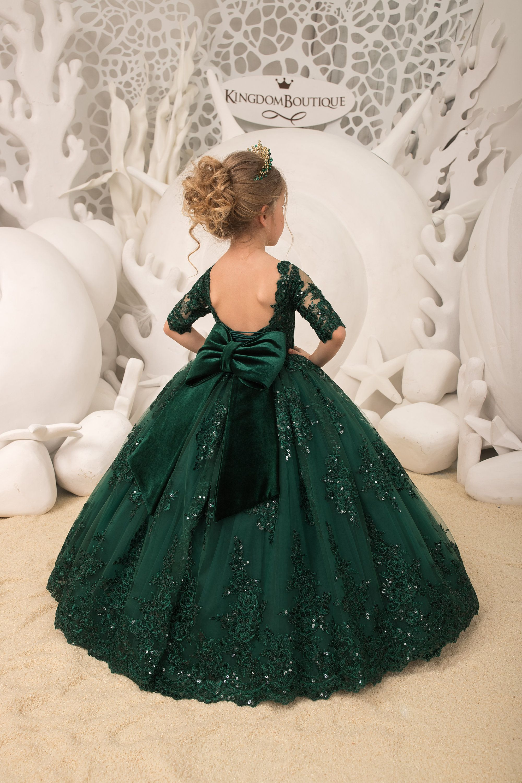 Emerald green flower girl dress birthday wedding party