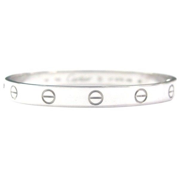 Pre-owned Cartier White Gold Love Bracelet Size 19 (19.875 BRL) ❤ liked on Polyvore featuring jewelry, bracelets, accessories, cartier bangle, white gold bangle bracelet, hinged bangle, 18k bangle and preowned jewelry