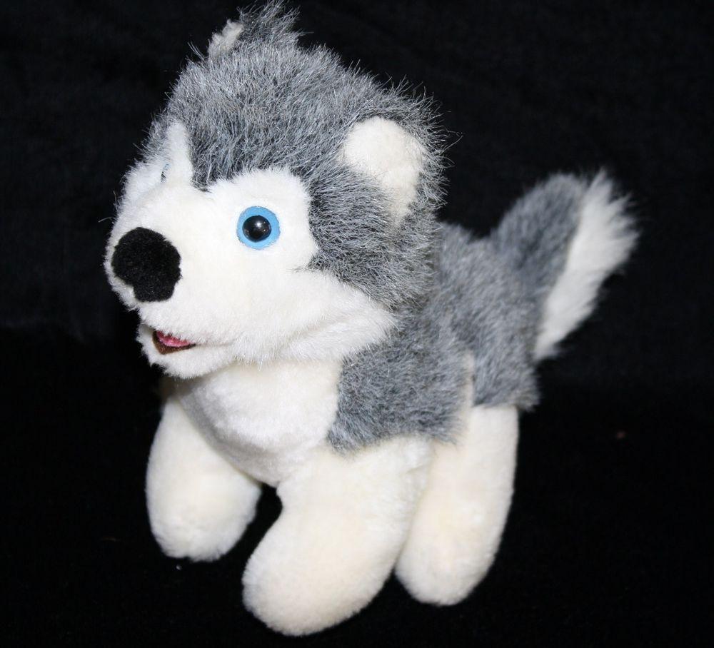 Build A Bear Stuffed Animal Toy Siberian Husky Dog Plush 15 Gray