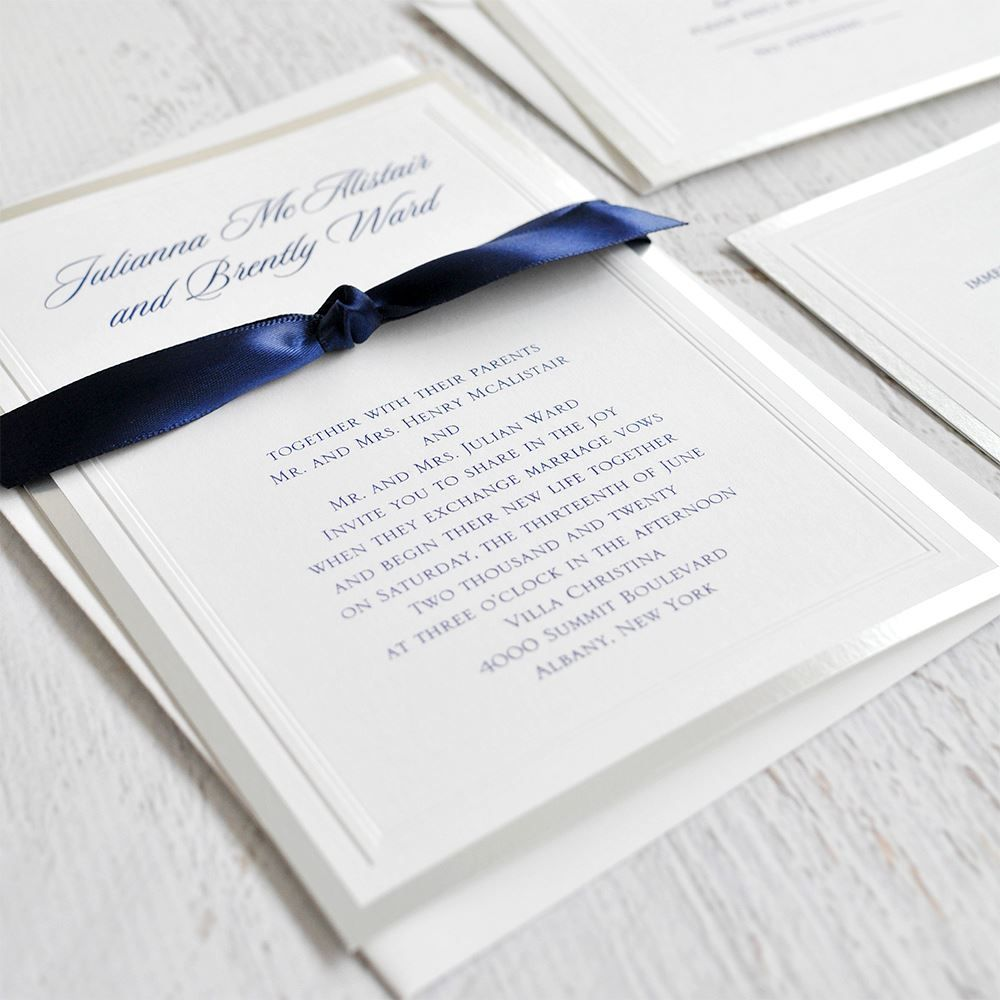 Silver Sophisticated Border - Invitation   Silver wedding ...