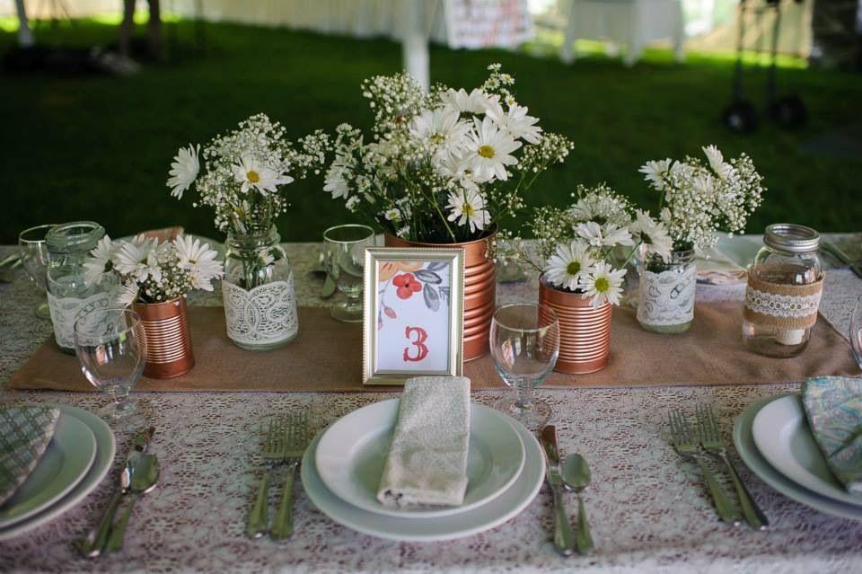 Wedding Centerpieces Tin Can Burlap Lace Copper Mason Jar Mismatched