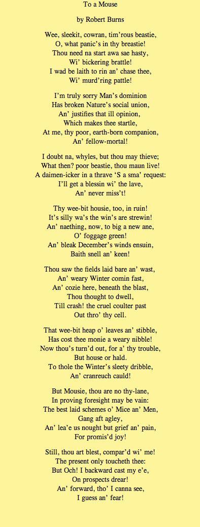 Poem By Robert Burns Poesía Y Escocia