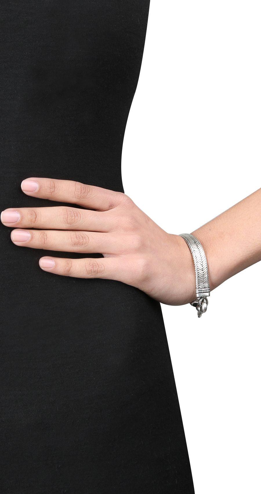 Oxidised silver chain bracelet by AMRAPALI. Shop at https://www.perniaspopupshop.com/whats-new/amrapali-16