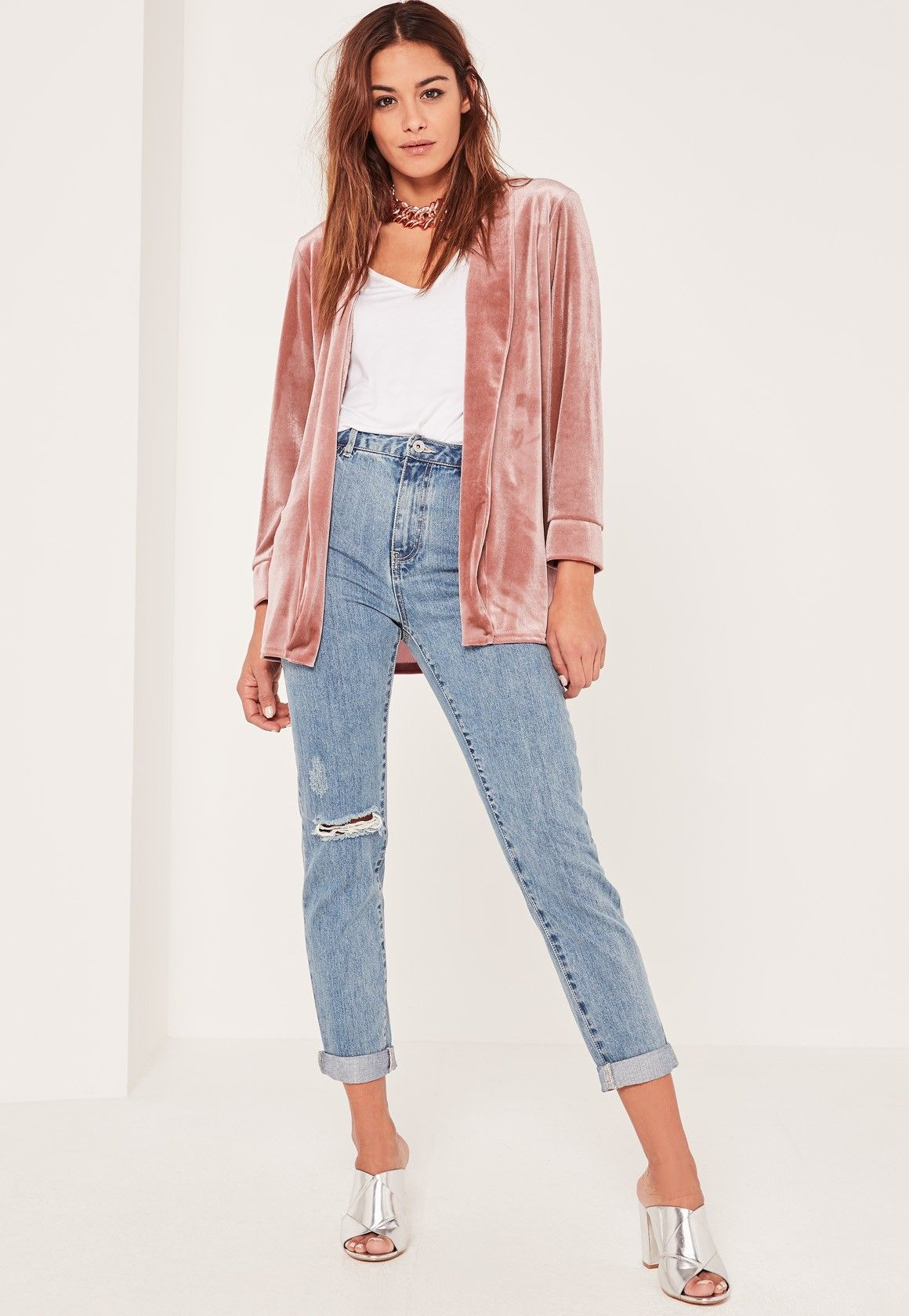 7a512bf95c529a Missguided - Pink Slouchy Velvet Blazer
