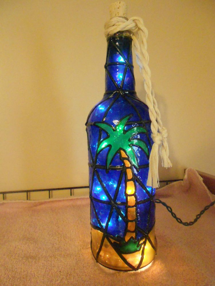 Hand painted lighted wine bottle palm tree design stained for Painting of a wine bottle