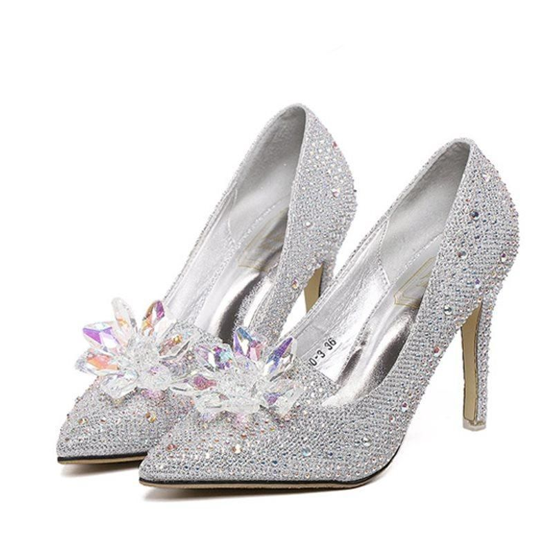 5d268fd2e5b Pointed Toe Slip-On Sequin Chunky Heel 11cm Low-Cut Upper Thin Shoes ...