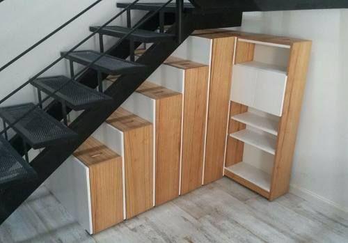 Bajo escalera mueble alacena bibliotecas ocultas para so - Muebles bajo escalera ikea ...