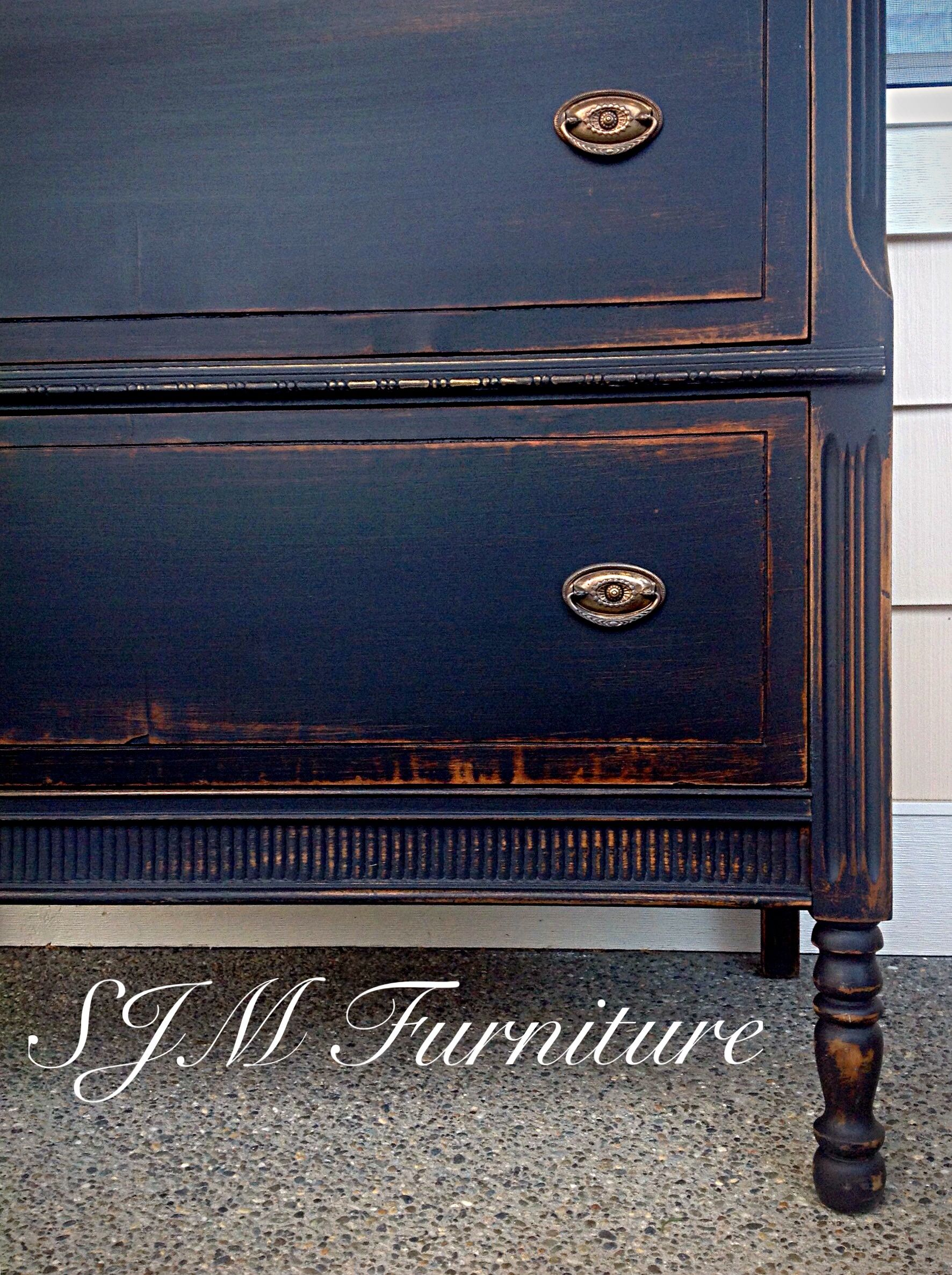 Antique Dresser Painted In Black Chalk Paint Distressed And Sealed With Clear Wax Black Chalk Paint Furniture Black Chalk Paint Chalk Paint Furniture Dresser