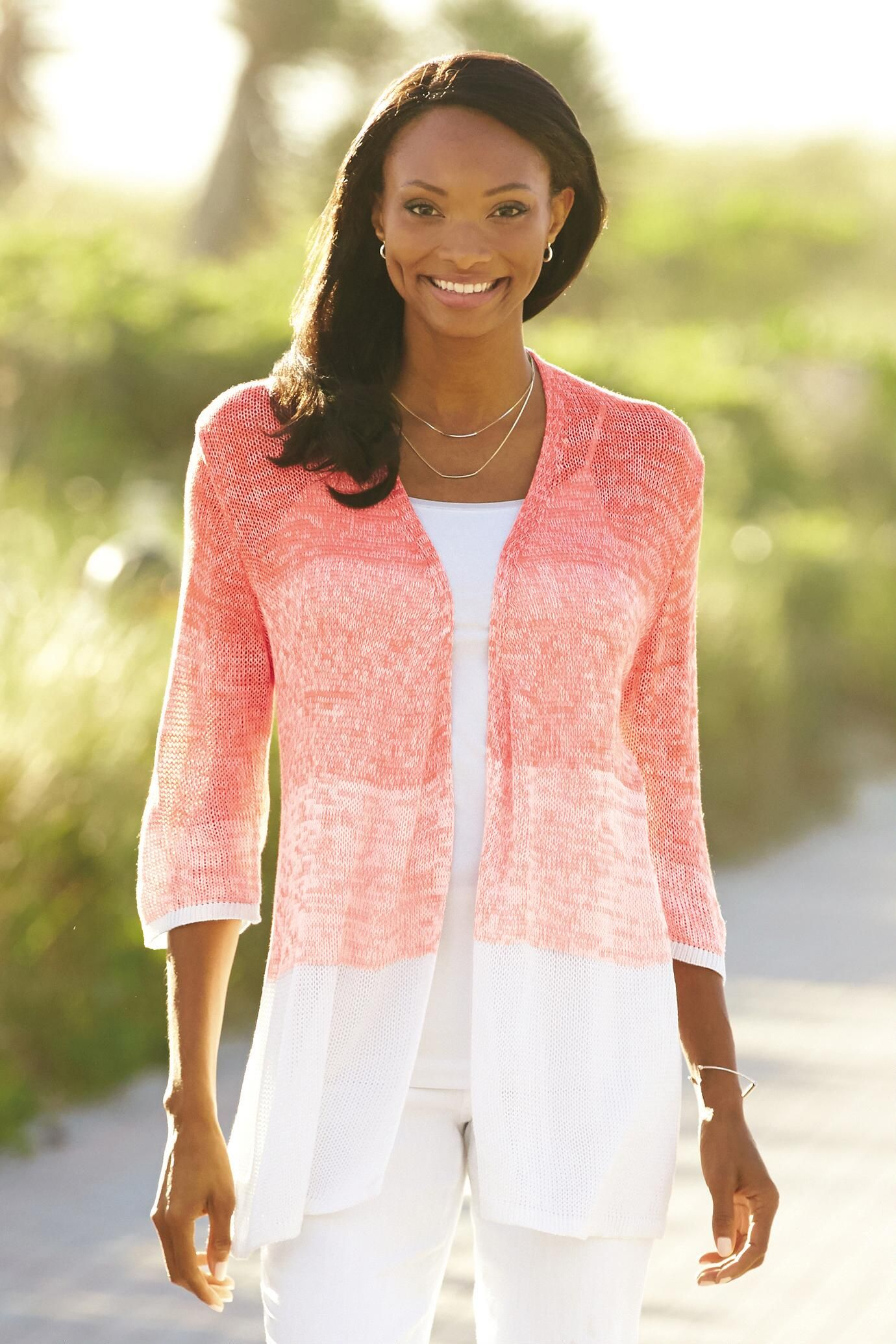 Ombré Open Front Cardigan Sweater. This pretty lightweight coral ...