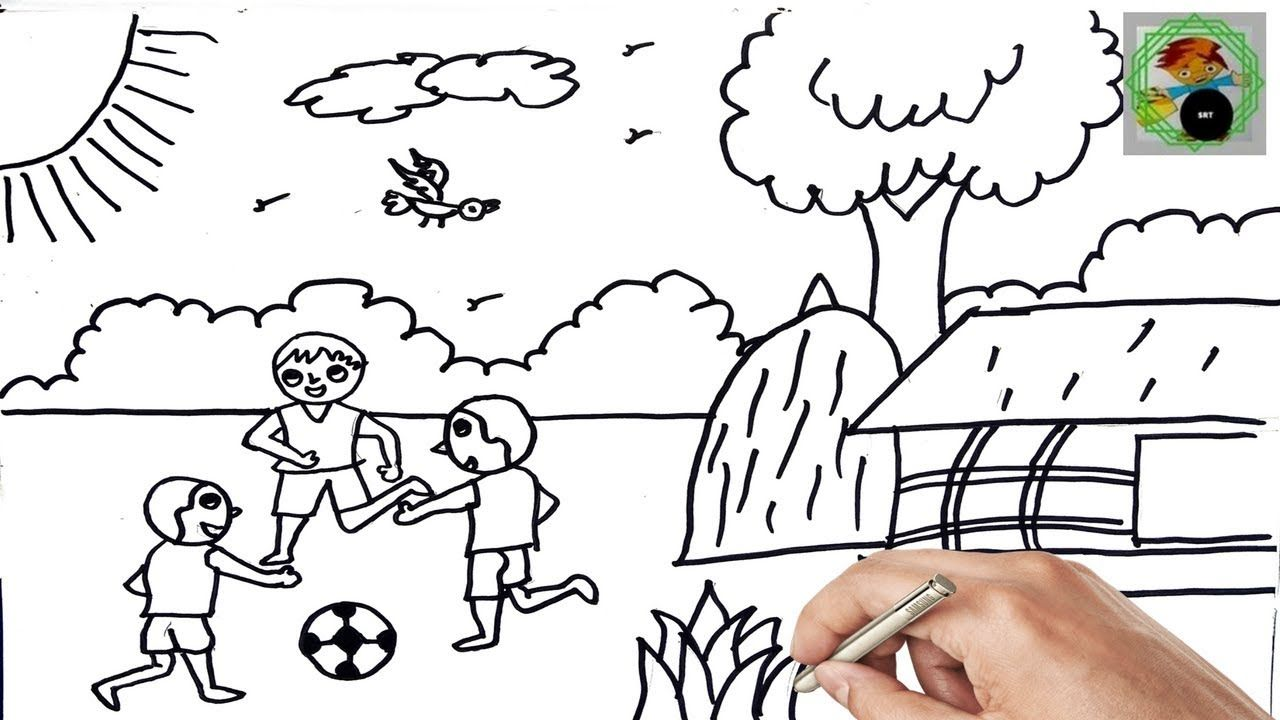 Drawing Scenery By Boys Playing Football For Baby Funny Videos For