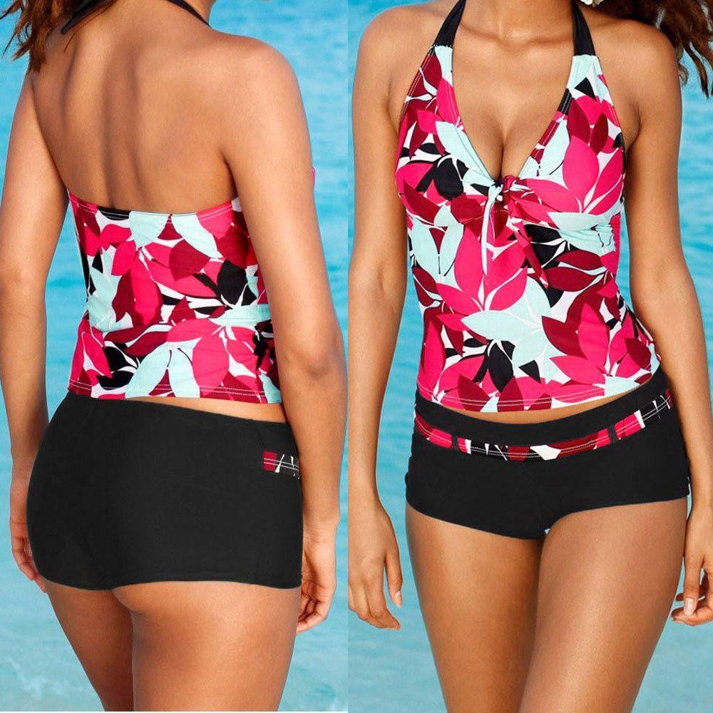 Womens Tankini Sets With Boy Shorts Sporty Bikini Set Swimwear Push-Up Swimsuits