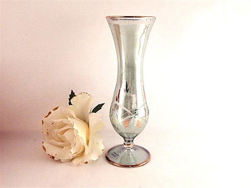 "Green Crystal Bud Vase 7"" Etched Glass Flower Vase Vintage 1980's Royal Limited Handcrafted Egyptian Crystal Home Decor Giftware"