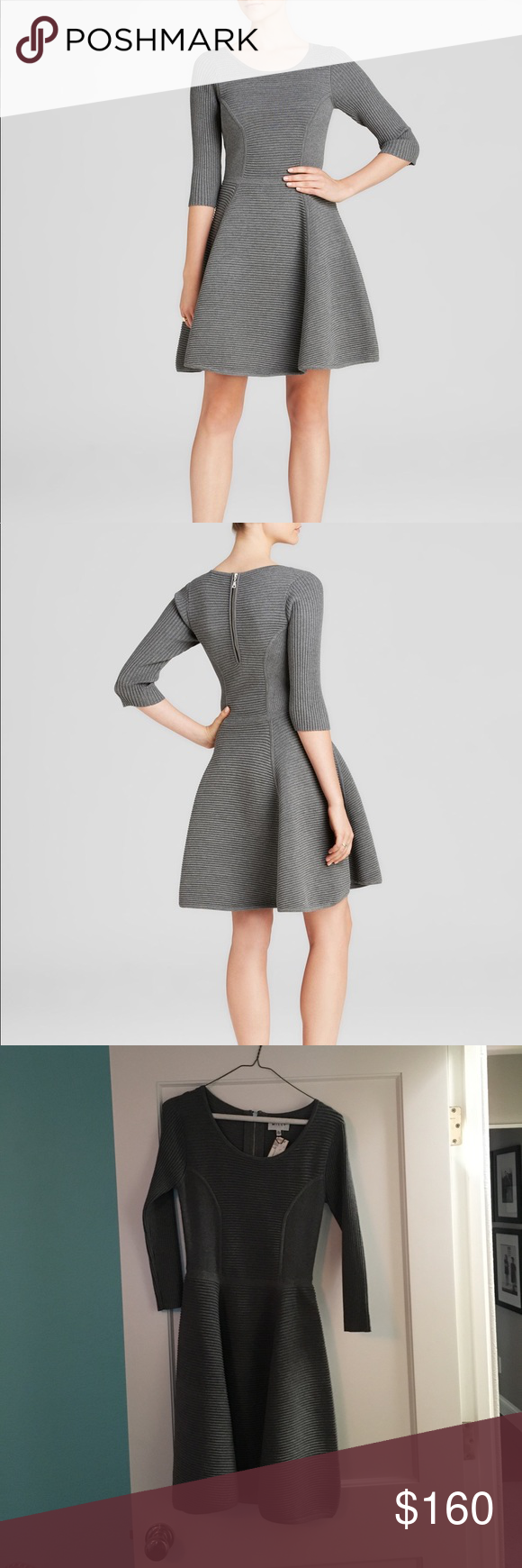 Milly Grey Ribbed Fit and Flare Dress NWT