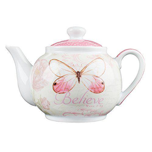 "Botanic Butterfly Blessings ""Believe"" Tea Pot - Mark 9:23..."