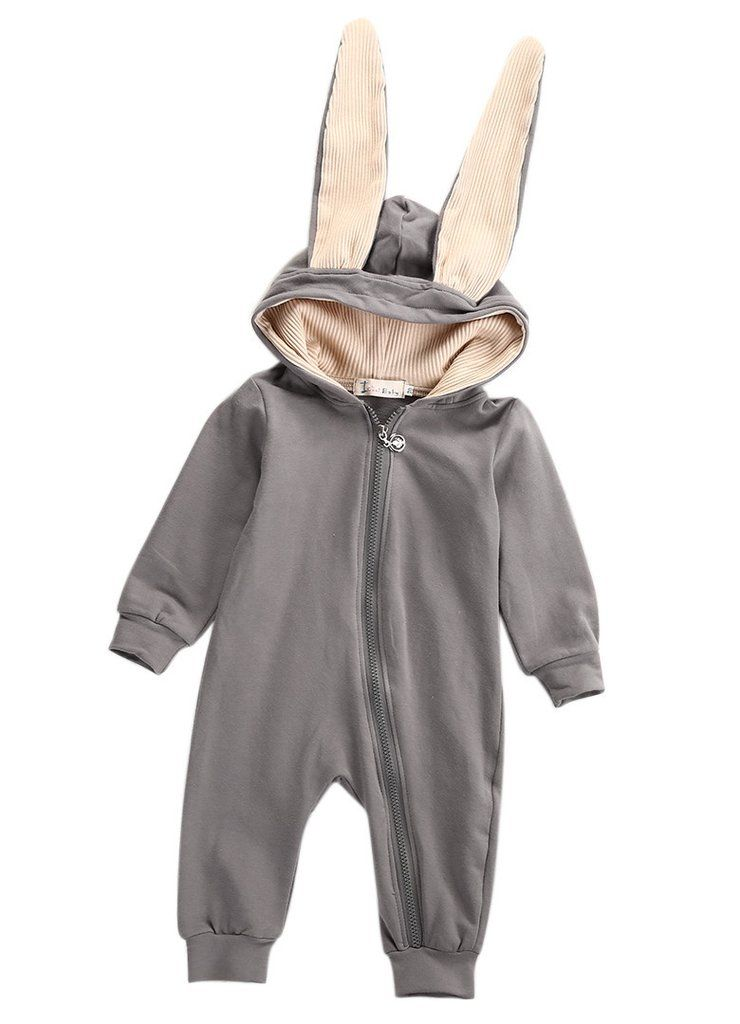 4f5a85b82 Winter Warm Newborn Baby Girl Boy Rabbit 3D Ear Zipper Hooded Romper  Jumpsuit Outfits Clothes