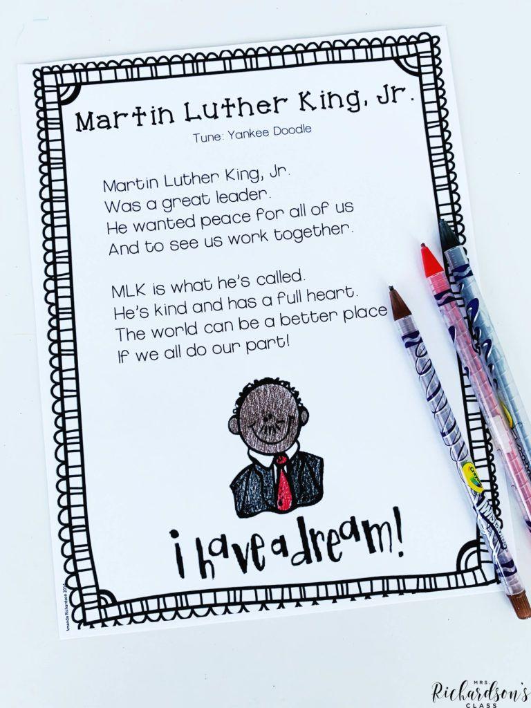 MLK Poetry FREEBIE Kindergarten poems, Black history