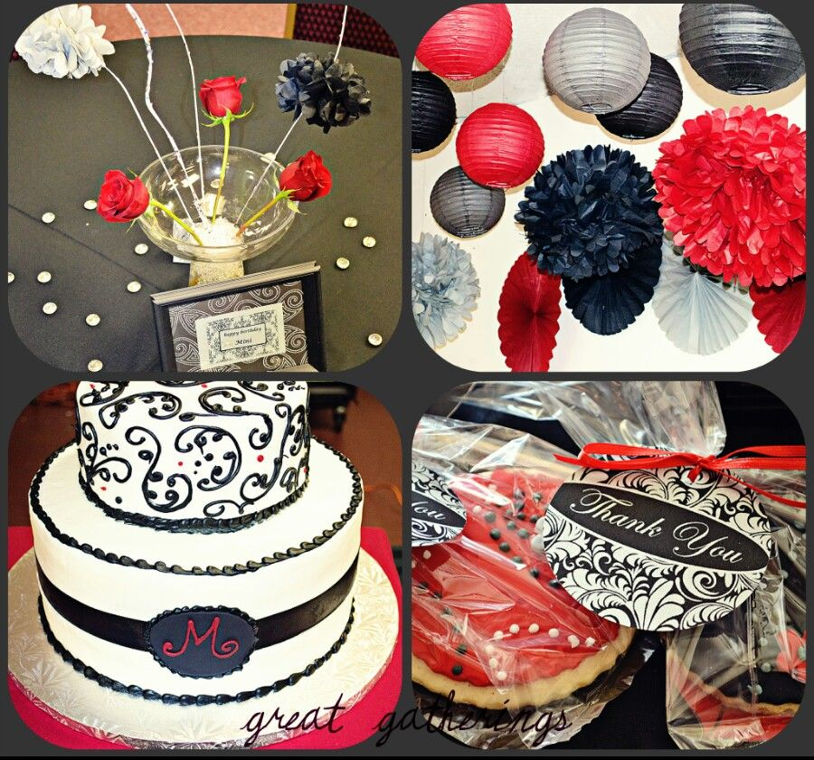 Red black white themed birthday party Party Decorations etc