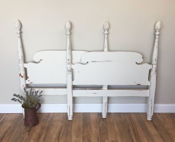 Two Vintage Twin Headboards That Were Each Painted In A Fresh Clean White And Distressed They Are Pineapple Twin Bed Headboard Headboards For Beds Vintage Bed