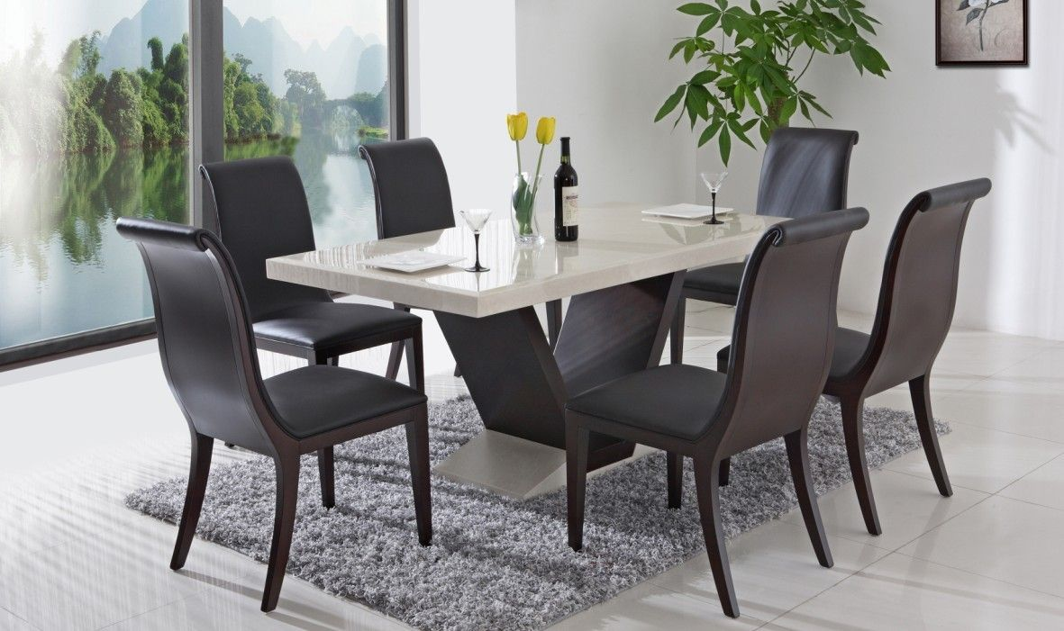Modern dining room tables sets minimalist but look so for Dining table top decor