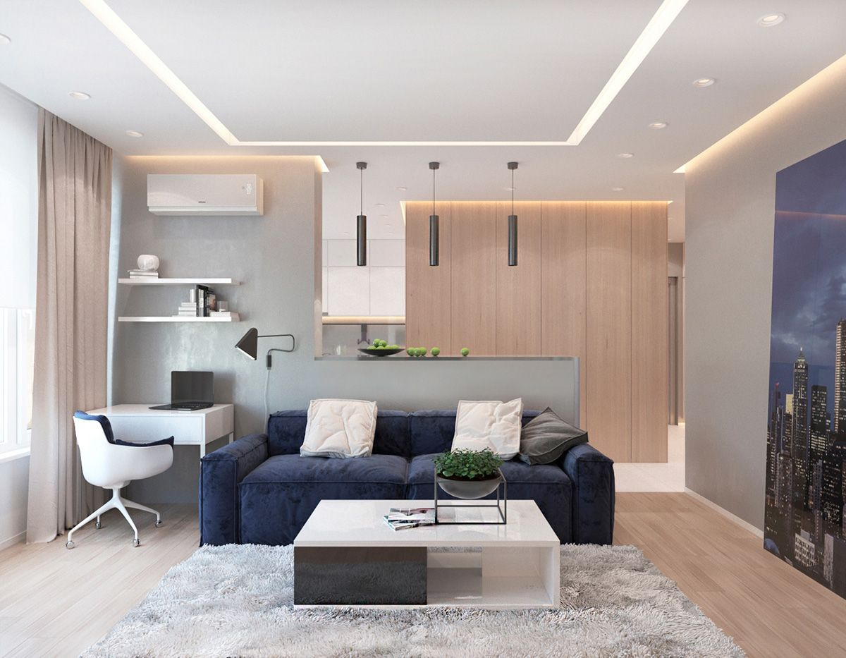 Modern Apartment Concept with Modern Color Scheme and Natural Wood ...