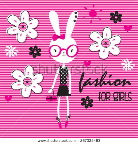 cute white bunny girl with flowers, fashion for girls, T-shirt design vector illustration - stock vector