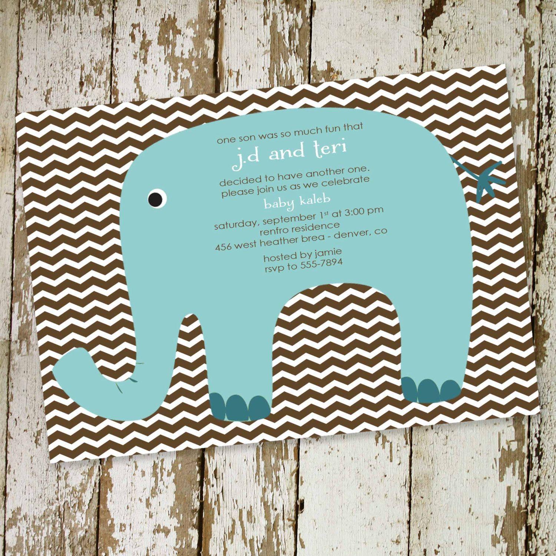 elephant theme baby shower invitation rustic baby boy shower little ...