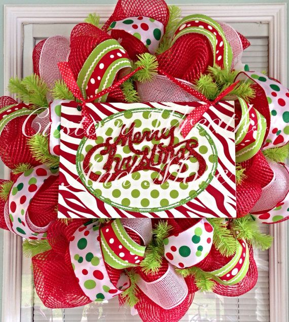 Whimsical Merry Christmas Mesh wreath on Etsy, $9500 Christmas