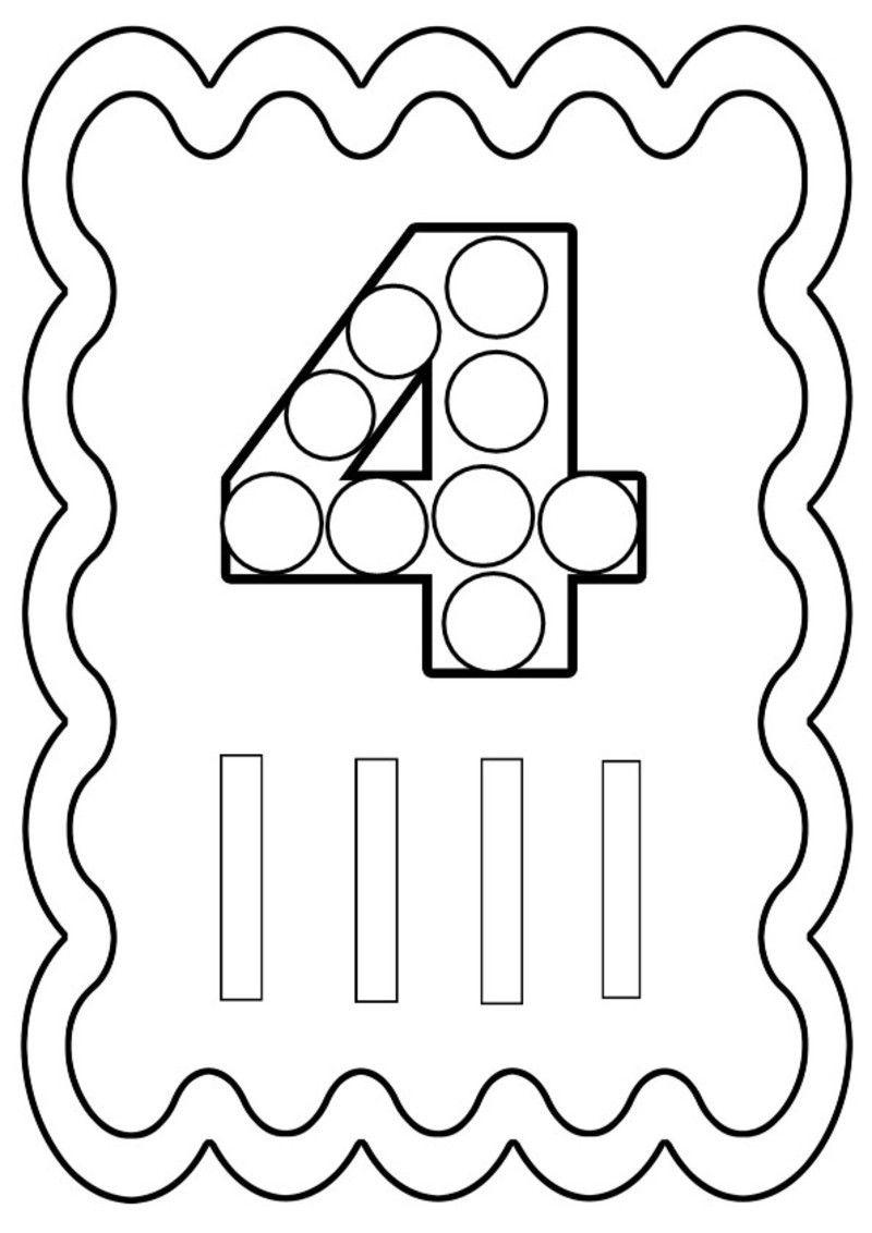 chiffre 4 colorier ou gommettes imprimer en fichier pdf cliquez acrobat