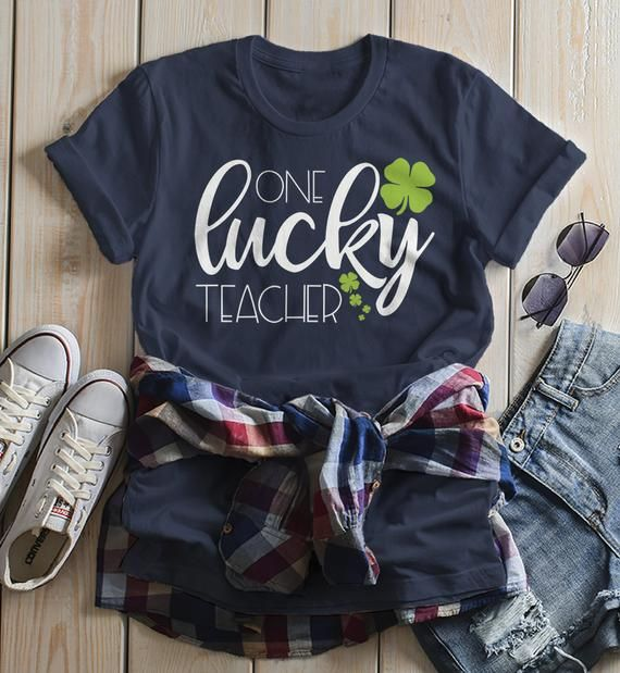 Women's One Lucky Teacher T Shirt St Patrick's Day Tee Lucky Clover Shirts 4 Leaf Clovers St. Pats