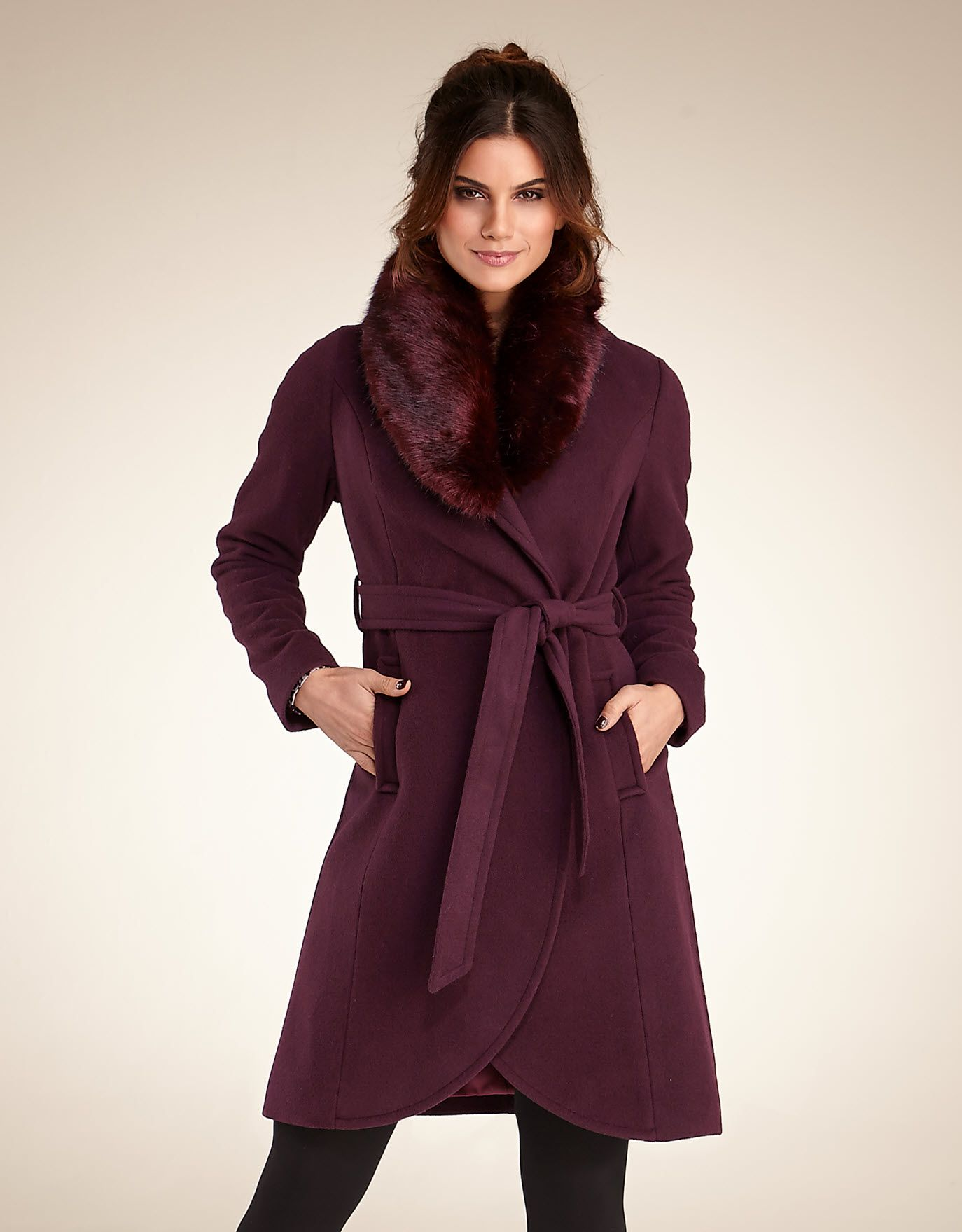 Faux Fur Collar Coat in Plum by Pepperberry | Part 2: Fashion and ...