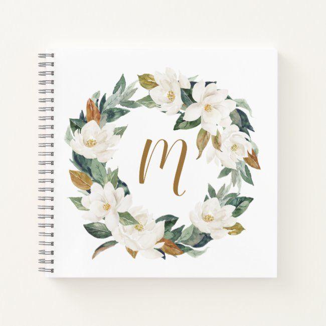 Photo of Watercolor Magnolia Wreath Monogram Notebook   Zazzle.com