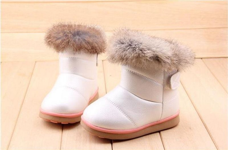24868b0c493 Kids Boots Children s Rubber Boots Winter Children Thicken Plush Snow Boots  Child Warm Leather Short Baby Infant white shoe