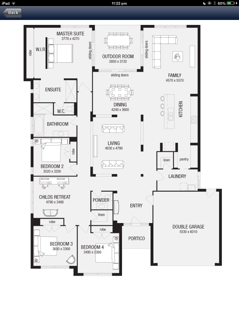 Potential Floor Plan No Bedrooms Along The Front Wall Though Garage House Plans House Plans House Plans Australia