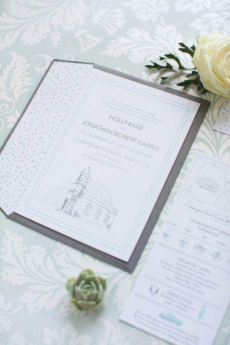 Babington House, bespoke wedding stationery, invitation, RSVP ...