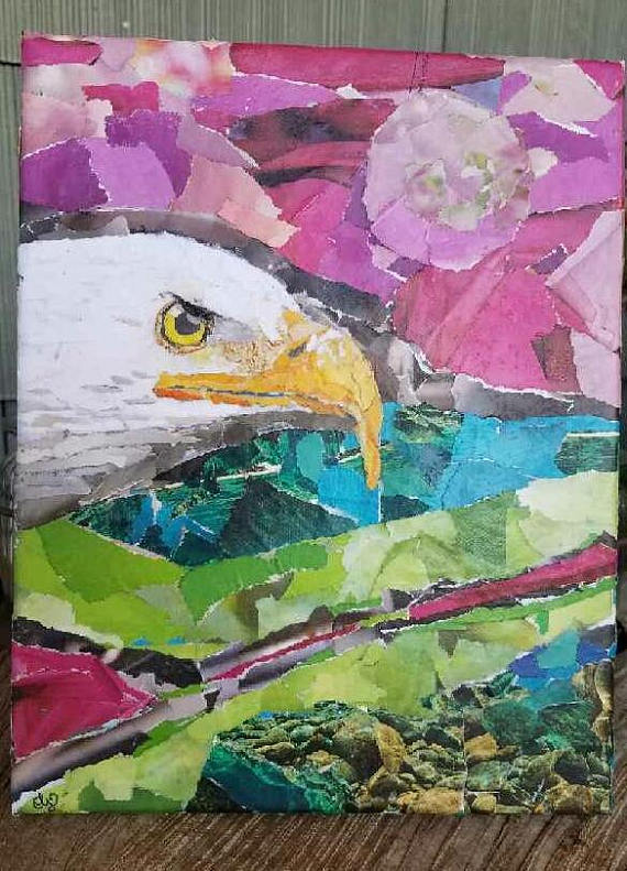 Torn Paper Collage, Eagle Abstract Fantasy, Repurposed Multi