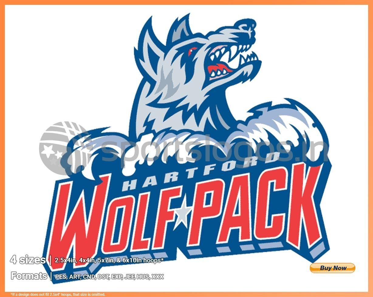 Hartford Wolf Pack Hockey Sports Embroidery Logo In 4 Sizes Spln001752 Sports Logos Embroidery Vector For Nfl Nba Nhl Mlb Milb And More In 2020 American Hockey League Sport Hockey Embroidery Logo