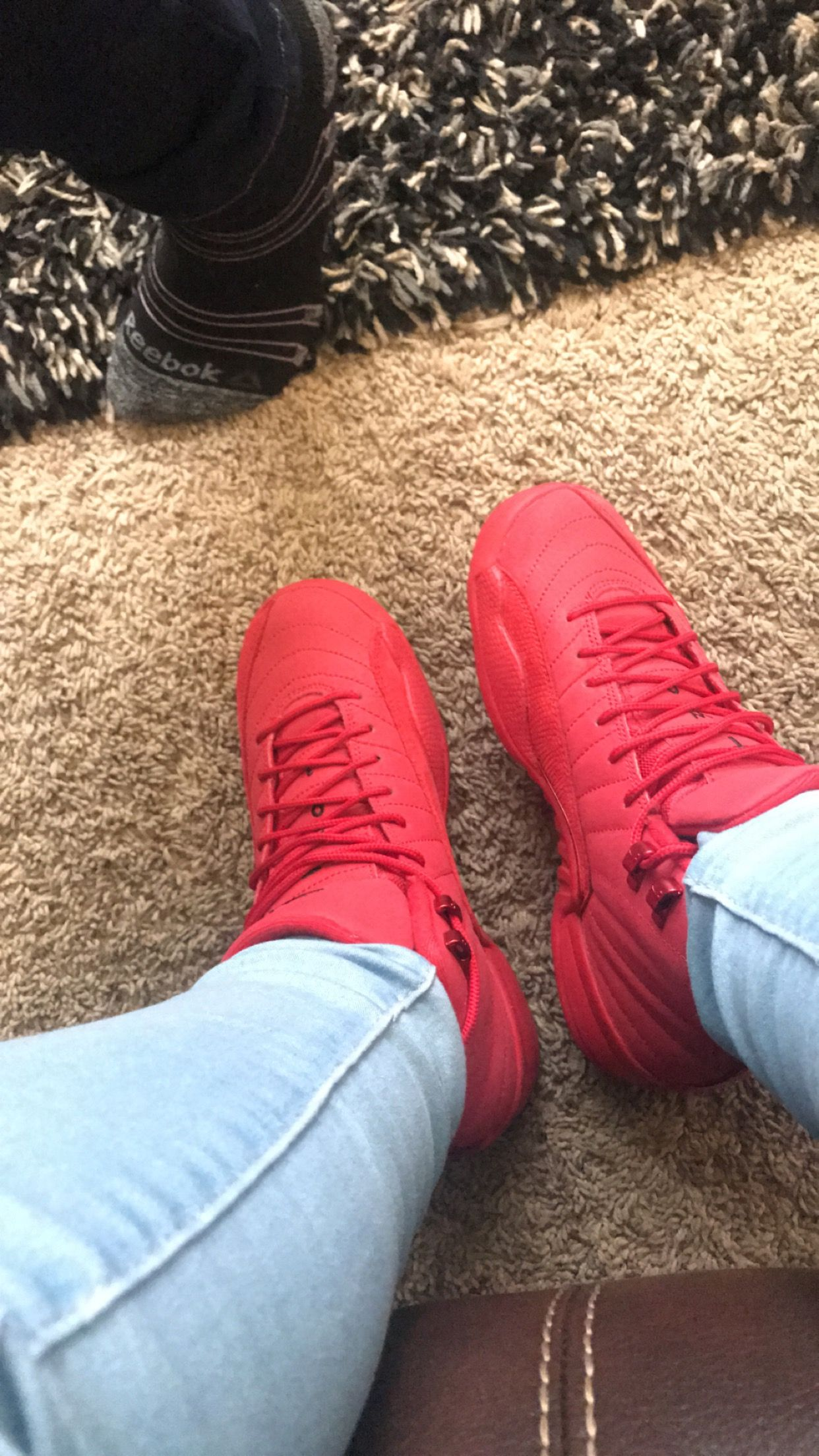 all red jordan 12 outfit