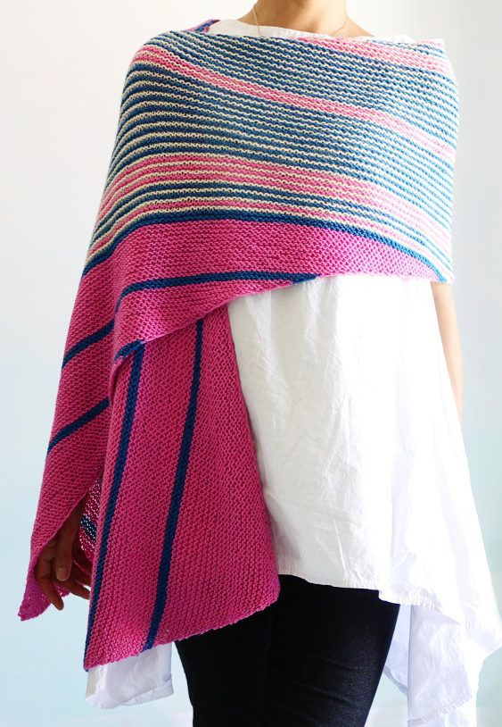 Knitting Pattern for By Airmail Wrap - This easy rectangular shawl ...