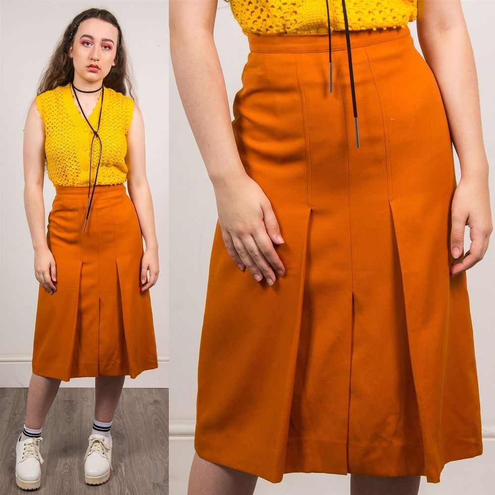52e1166f32 DARK ORANGE MIDI SKIRT 70'S MOD WOMENS HIGH WAISTED VINTAGE A-LINE CASUAL 6  #fashion #clothing #shoes #accessories #womensclothing #skirts (ebay link)