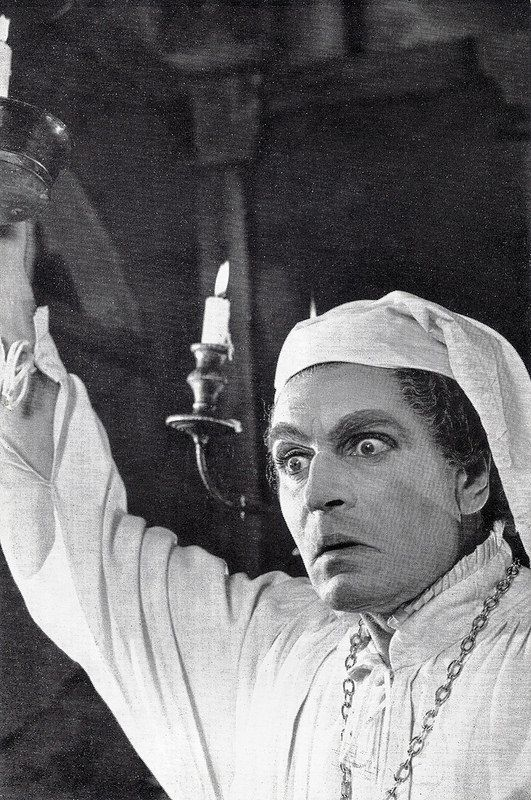 Laurence Olivier as Malvolio. British postcard in the