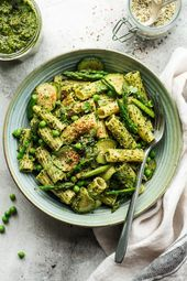 nice This vegan pesto pasta with homemade kale pesto and spring vegetables makes for a quick and delicious midweek meal that can be prepared in minutes It can be glutenfr...