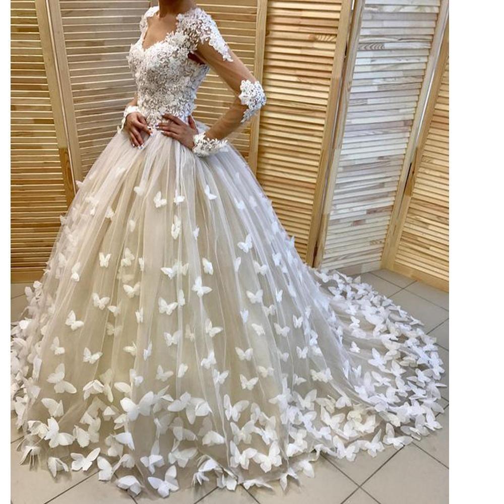 Ball Gown Wedding Dresses 2020 Sweetheart Neckline Long Sleeve Flowers Puffy Bridal Dresses Butterfly Wedding Gowns Ball Gown Wedding Dress Butterfly Wedding Dress Ivory Bridal Gown [ 1000 x 1000 Pixel ]